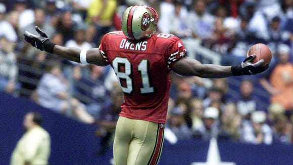 Terrell Owens, here celebrating a touchdown against