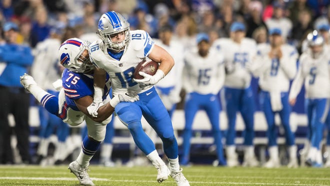 Lions receiver Jace Billingsley is brought down for a one-yard loss by the Bills' Eddie Yarbrough during the second quarter Aug. 31, 2017 at New Era Field in Orchard Park, New York.
