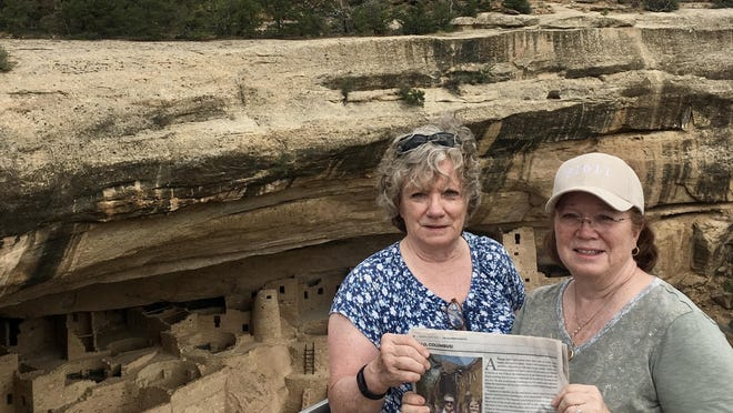 COLORADO                                                                          Chris Rubeck of Groveport and Kathy Pazaropoulos of Pickerington visit Mesa Verde National Park. The sisters recommend downloading the NPS Mesa Verde app on your phone before going. It has historic narratives of the area and maps for hiking trails. Also take plenty of water and leave extra time. It is a 45-minute drive from the gate to the first ancient Pueblo site.