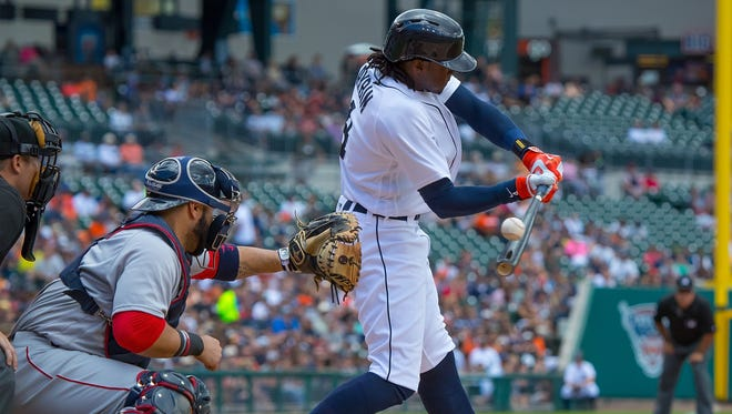 Tigers centerfielder Cameron Maybin strikes out in the first inning of the Tigers' 10-5 win Sunday at Comerica Park.