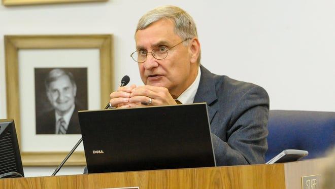Lafayette Parish Superintendent Donald Aguillard speaks at a 2017 Lafayette Parish School Board meeting.