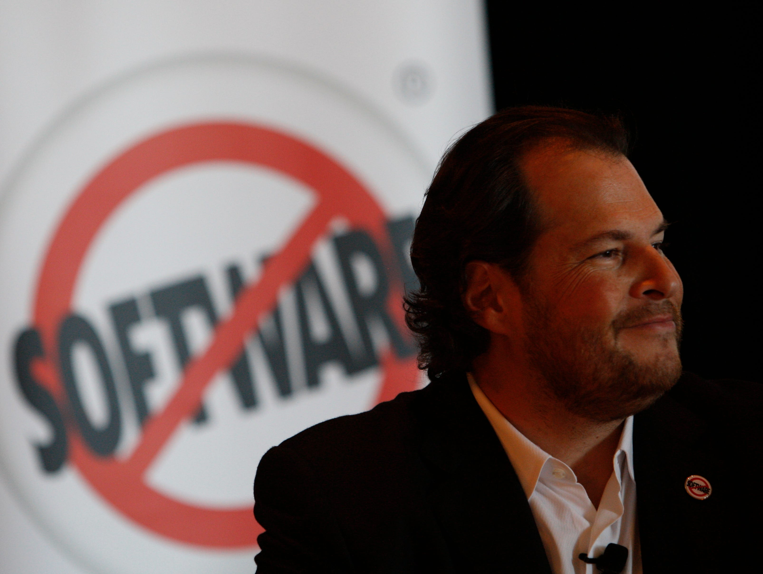 Salesforce.com CEO Marc Benioff. Salesforce.com is target of takeover interest, a report says.