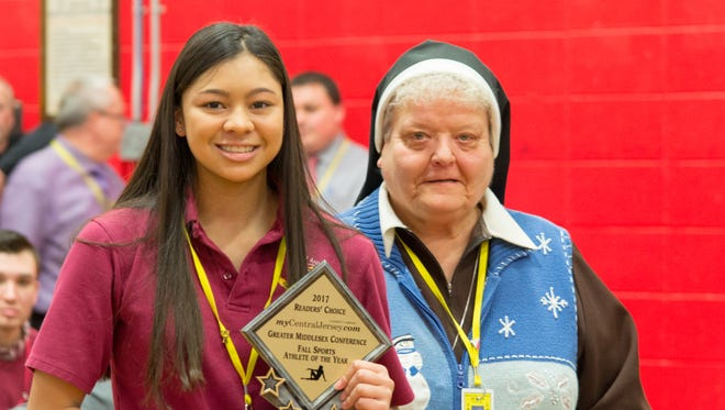 Bishop Ahr gymnast Ariyana Agarwala, pictured with high school principal Sister Donna Marie Trukowski, has been voted MyCentralJersey.com's Readers' Choice Greater Middlesex Conference Fall Sports Athlete of the Year.