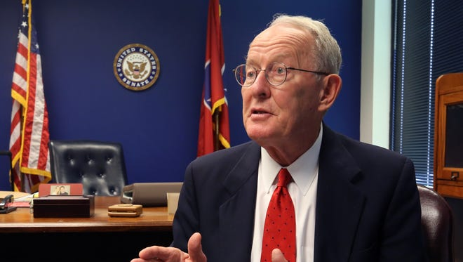 Senator Lamar Alexander is photographed in his office Wednesday August 23, 2017.