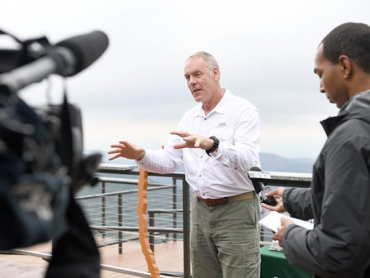 Interior Secretary Ryan Zinke gives remarks to guests
