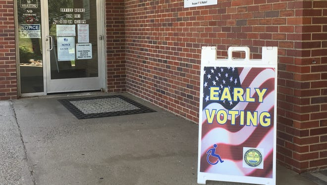 The early voting sign sits outside the Robertson County Election Office in Springfield.