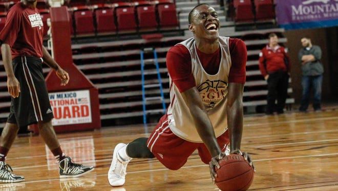New Mexico State forward Pascal Siakam and the Aggies held their first official practice of the 2015-16 season on Wednesday at the Pan American Center.