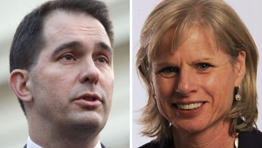 Wisconsin Gov. Scott Walker, left, and his Democratic challenger Mary Burke.