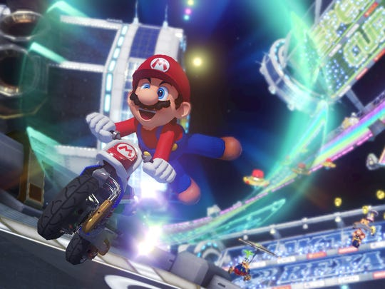 Some classic courses make a return to Mario Kart 8, including Rainbow Road.