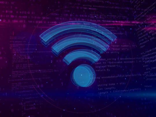 Wi-fi sign on digital background.