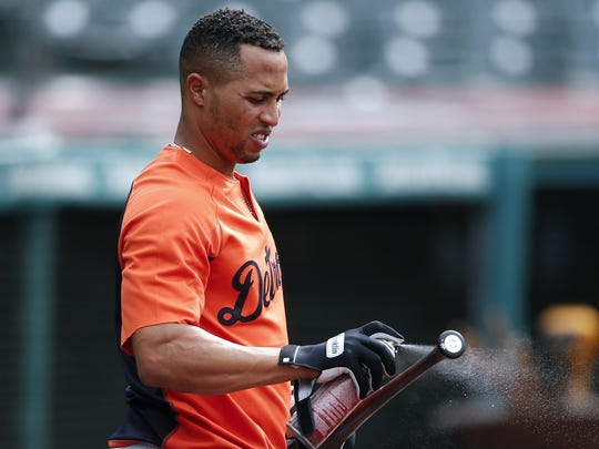 Tigers center fielder Leonys Martin prepares his bat for batting practice before a game against the Indians on Thursday, April 12, 2018, in Cleveland.