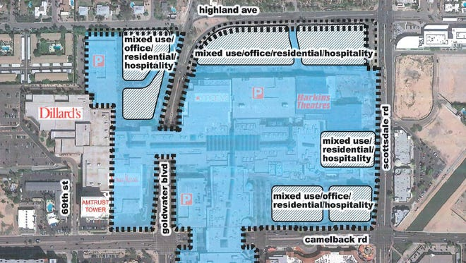 An overhead view of Macerich plans to develop property around Scottsdale Fashion Square mall with new office towers, apartments and hotel space.