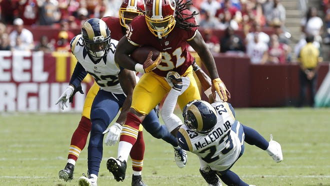Washington Redskins running back Matt Jones Jones, a rookie reserve, came off the bench to gain 123 yards and two touchdowns on 19 carries against the St. Louis Rams on Sunday