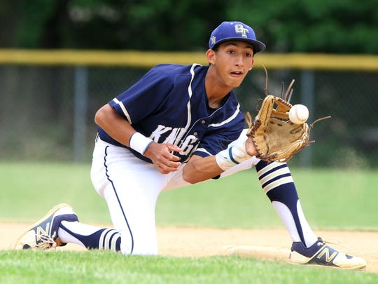 Alex Clyde of Old Tappan makes this play at shortstop.