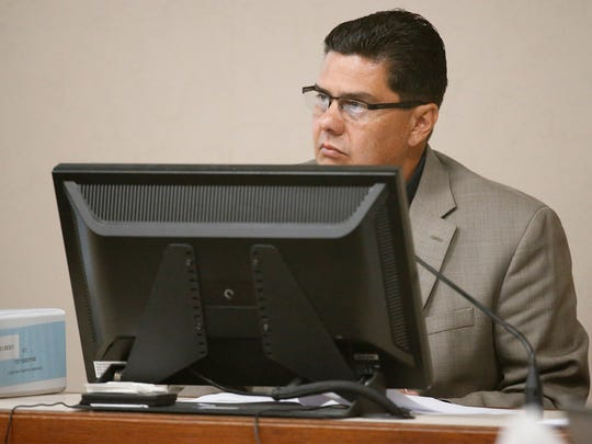 Former Bowie High School Principal Jesus Chavez takes the witness stand Tuesday during the second day of hearings and describes El Paso Independent School District administrators manipulating student populations, attendance records and transcripts to game state and federal accountability standards.