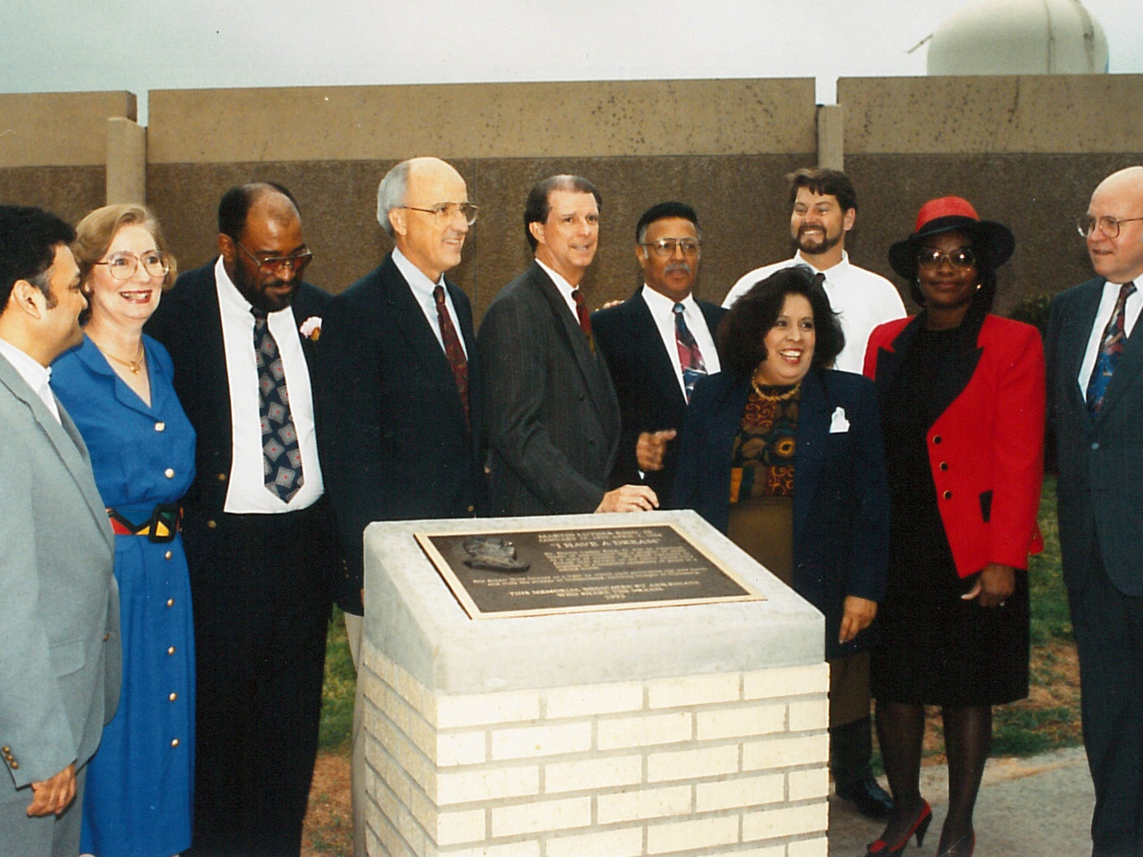 From left: Victor Flores, Lynda Calcote, Rufus Johnson, Mayor Gary McCaleb, City Manager Jim Blagg, the Rev. Leo F. Scott, Carol Martinez, Tom Martin, Neomia Banks and Wayne Roy were photographed at the dedication of a East Highway 80 bridge over Cedar Creek at the Martin Luther King Jr. Memorial Bridge in 1993.