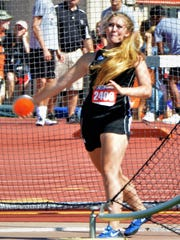 Clyde grad Ashlynn Smart, shown here competing in the Class 3A girls discus at the 2017 state track meet in Austin, won the hammer event at the North Texas Classic recently while competing for the University of North Texas.