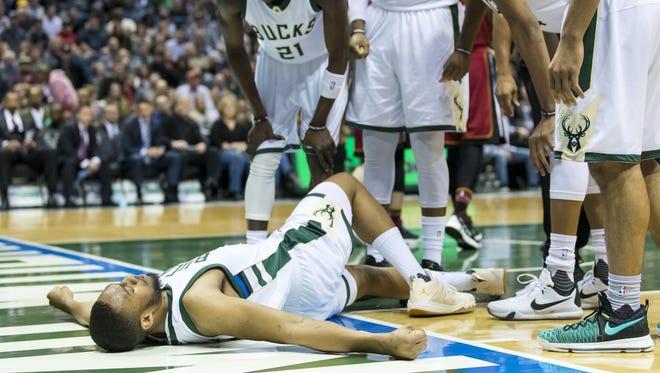 Milwaukee Bucks forward Jabari Parker (12) tore his ACL Wednesday and will miss 12 months.