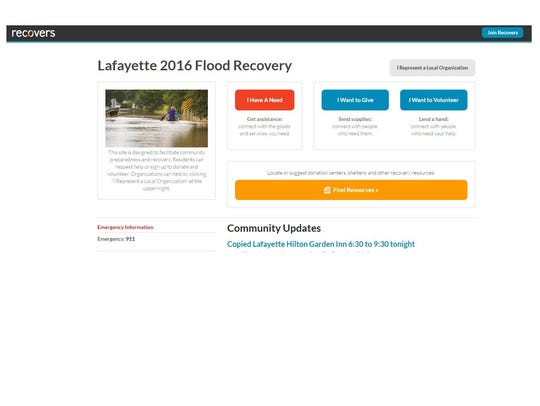 A screen shot of the recovers.org website set up after