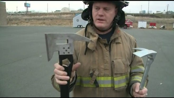 Firefighter Scott McCann and his invention, The Badaxx