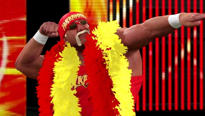 Hulk Hogan donning his traditional red and yellow in WWE 2K15.