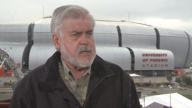 Glendale Mayor Jerry Weiers,, outside University of Phoenix Stadium, Jan. 26, 2015.