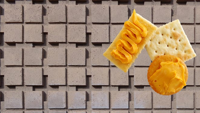 Pattern block vs. extruded and stamped food.