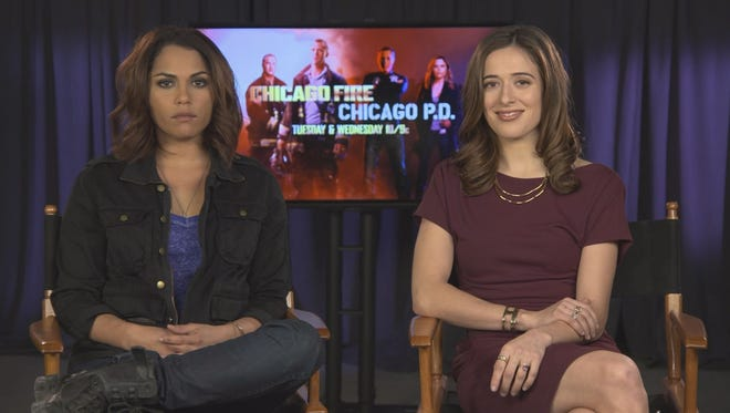 """Monica Raymund (""""Chicago Fire"""") and Marina Squerciati (""""Chicago PD"""")."""