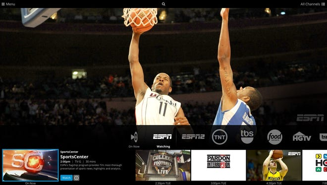 The Sling TV service on an TV. Shown is the ESPN live video with the channel menu, as well as upcoming ESPN programs.