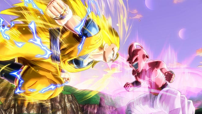 Goku and Kid Buu battle it out in Dragon Ball XenoVerse.