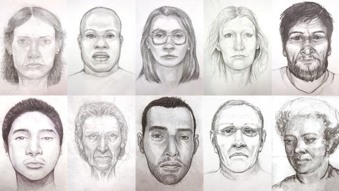 Sketches of unidentified deceased individuals found in Riverside County throughout the years.