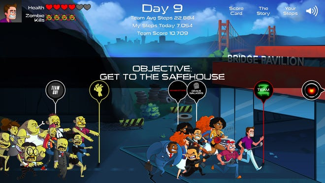 """A screenshot from """"A Step Ahead: Zombies,"""" a new fitness platform that pits players against an advancing zombie horde."""
