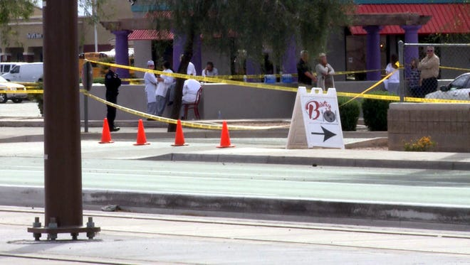 Crime scene from a series of shootings in Mesa, March 18, 2015.
