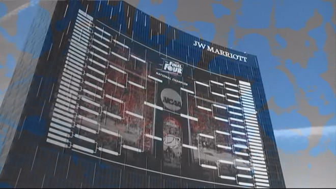 A giant March Madness bracket is on display at the JW Marriott.
