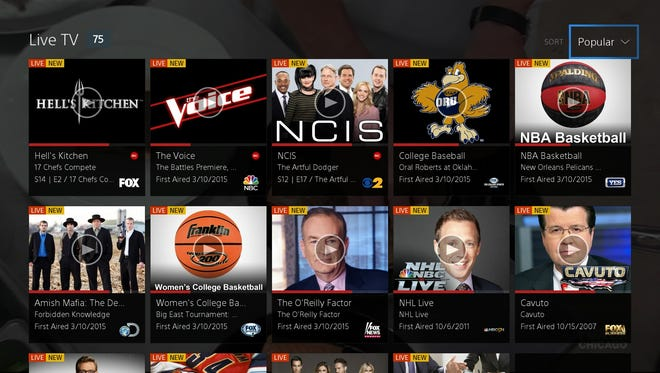 A screenshot from the new Sony PlayStation Vue online video service.