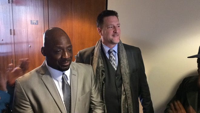 Floyd Dent appears in court this morning with his attorney, Greg Rohl.