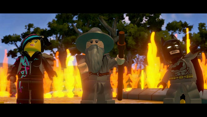 """This photo provided by Warner Bros. Interactive Entertainment shows a scene from the video game, """"LEGO Dimensions."""" Warner Bros. Interactive Entertainment and TT Games unveiled plans Thursday, April 9, 2015, for """"Lego Dimensions,"""" a game and toy line combining real-world Lego bricks and figures with virtual game worlds depicted on screen, similar to the popular """"Skylanders,"""" """"Disney Infinity"""" and """"ambiio"""" franchises from Activision-Blizzard Inc., Walt Disney Co. and Nintendo Co. (AP Photo/Warner Bros. Interactive Entertainment)"""