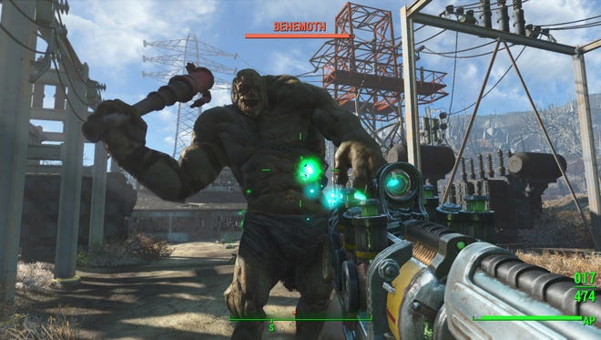 Players take on a Behemoth in 'Fallout 4.'