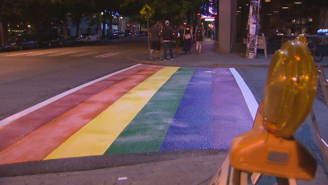The rainbow crosswalk is at 10th Avenue and Pine Street.