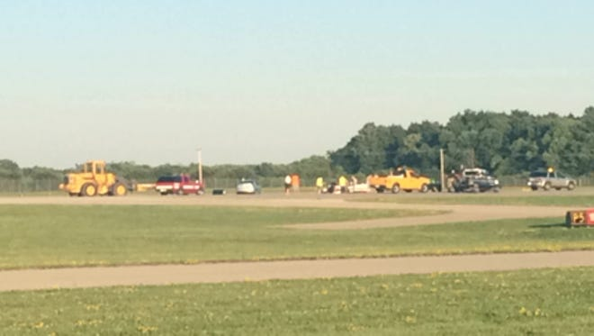 A gear-up landing closed Wittman Regional Airport's Runway 36L for about an hour Sunday, July 19, evening.