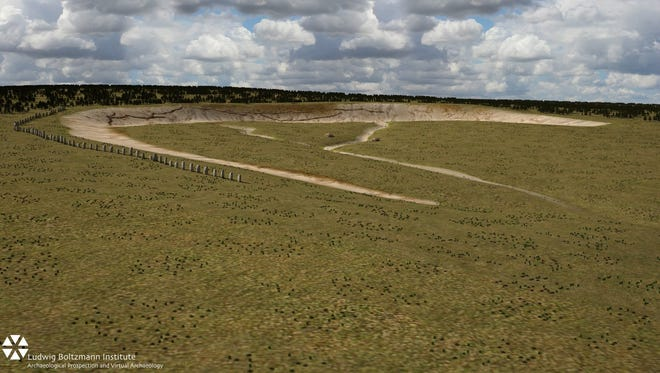 """An artist's impression of stone monoliths found buried near Stonehenge could have been part of the largest Neolithic monument built in Britain, archaeologists say. The 4,500-year-old stones, some measuring 15 feet in length, were discovered under 3 feet earth at the Durrington Walls """"superhenge."""""""