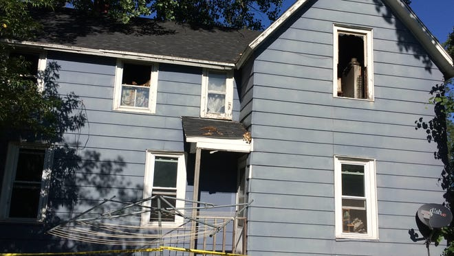 Most of the damage in Sunday's fire at 1015 Klaus St. was confined to the second floor.