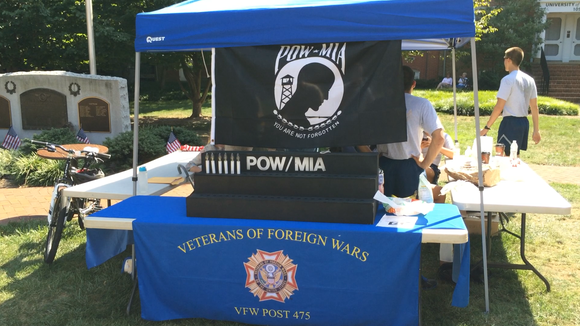 VFW Post 475's National POW/MIA Recognition Day display on Main Street in Newark.