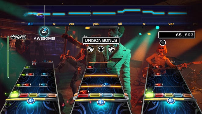 More than four can play together — a combination of drums, one or two guitars and three  vocalists on 'Rock Band 4.'