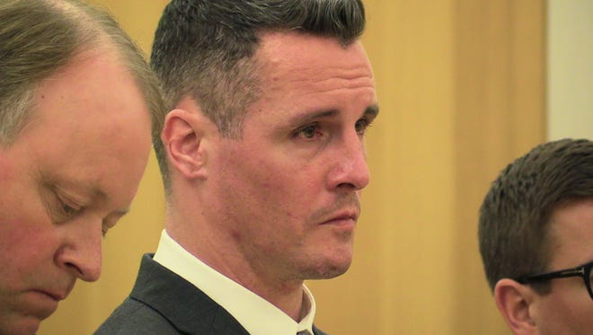 Erik Refvik is seen while being sentenced by Judge Barry Warhit at the Westchester County Courthouse in White Plains Sept. 25, 2015. Refvik is the White Plains firefighter who killed a woman in a drunken wrong-way crash.