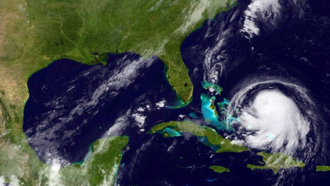 In this image from the National Oceanic and Atmospheric Administration (NOAA), Hurricane Joaquin is seen churning in the Caribbean early Wednesday. Its exact track has yet to be determined, but there is a  possibility of landfall in the U.S. anywhere from North Carolina to the Northeast.