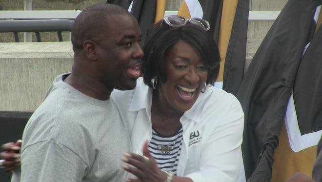 Alabama State president Gwendolyn Boyd attending the team's open practice during fall camp.