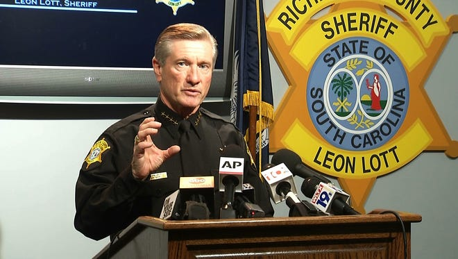 Richland County Sheriff Leon Lott speaks during a press conference in this image taken from video, in Columbia, S.C., Tuesday. Lott suspended Ben Fields, a senior deputy with the Richland County Sheriff's Department, without pay after a video showed Fields forcibly removing a student who refused to leave her high school math class at Spring Valley High School.