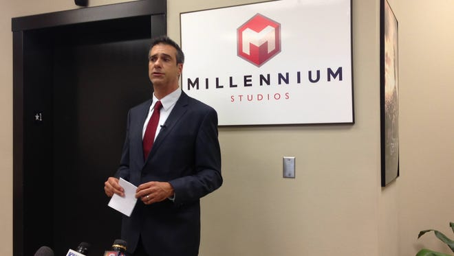"Diego Martinez, president of Millennium Studios in Shreveport holds press conference to announce the film studio is ""going dark."""