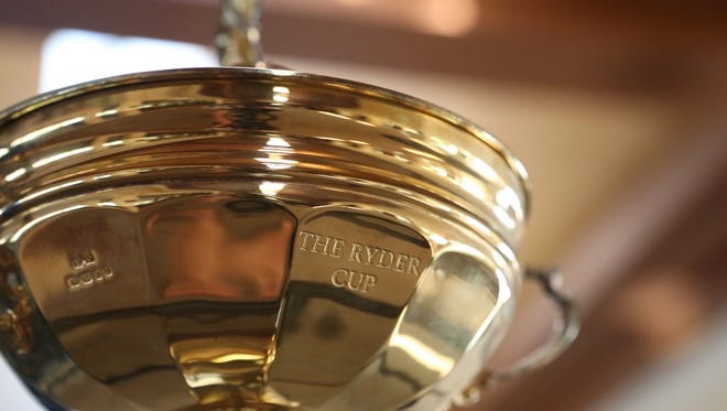The trophy from the 1959 Ryder Cup is on display at the Eldorado Country Club in Indian Wells, Calif.